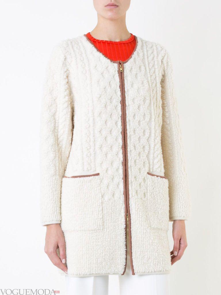 вязаное пальто белое