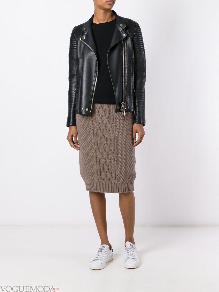 вязаная юбка коричневая