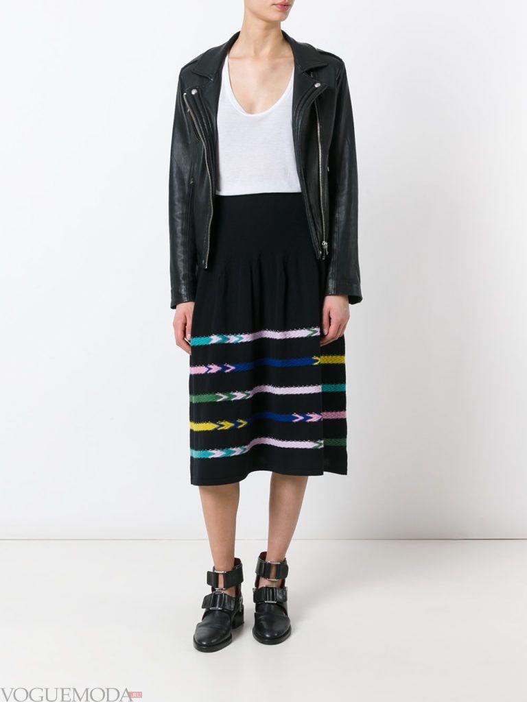 вязаная юбка черная