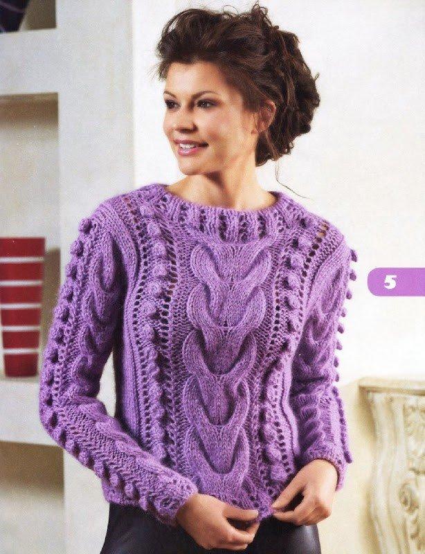 вязаный свитер яркий