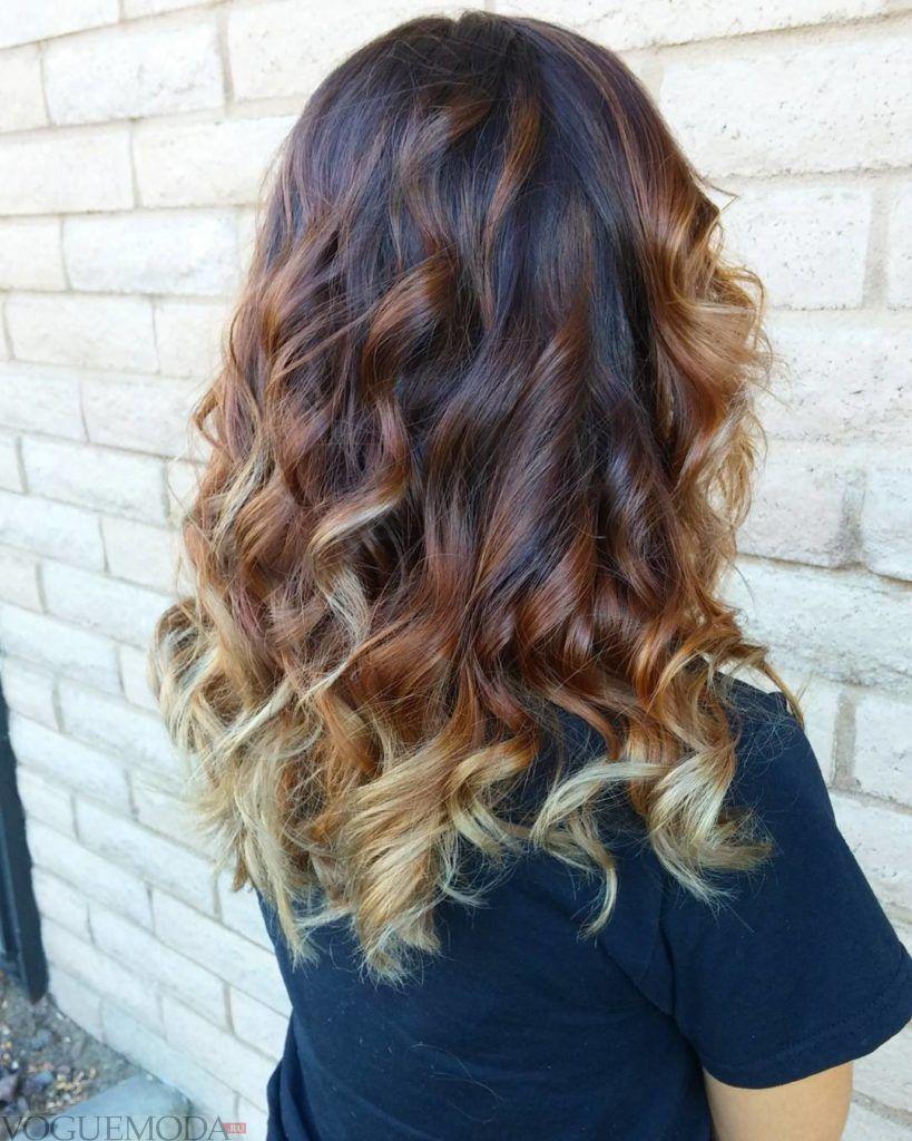 модное обмре на длинные волосы  в два цвета
