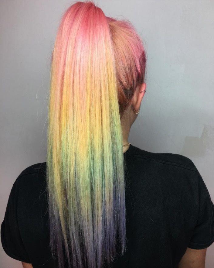 модное обмре на длинные волосы  цветное