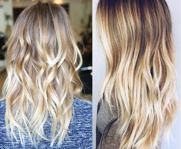 модное обмре на длинные волосы  светлое