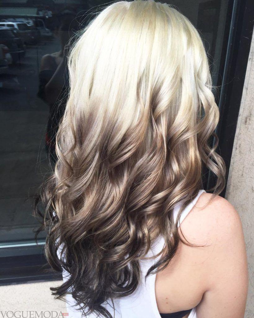модное обмре на длинные волосы  светлое с темными концами