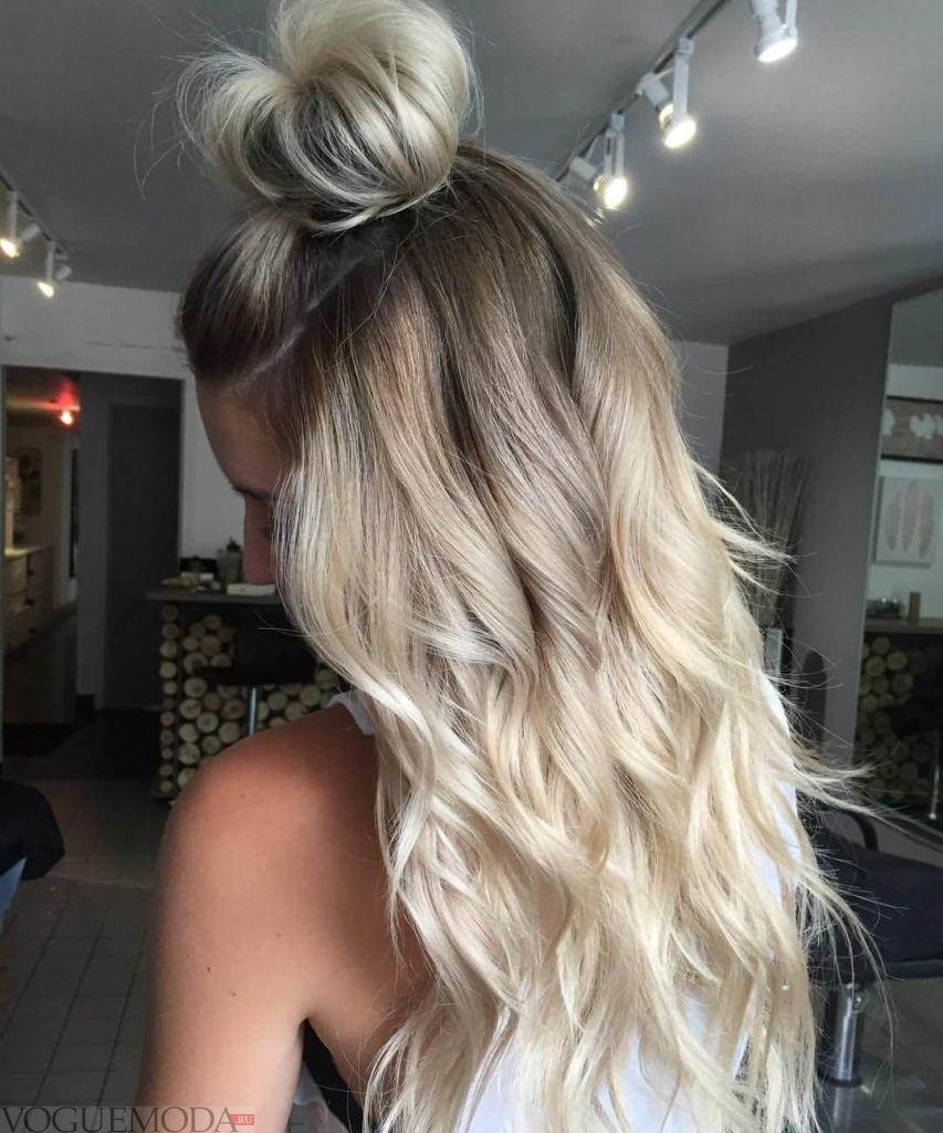 модное обмре на длинные волосы  белоес серым