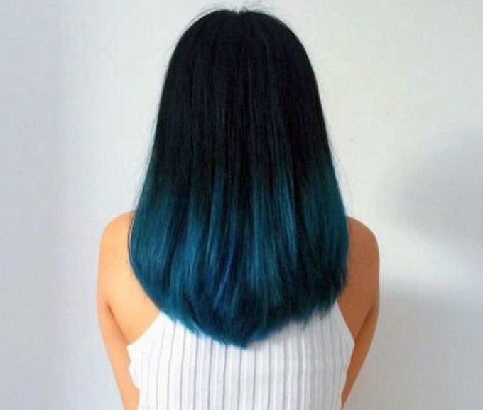 модное обмре на длинные волосы  синие