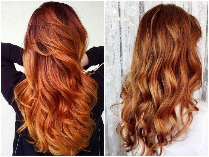 рыжее окрашивание на длинные волосы