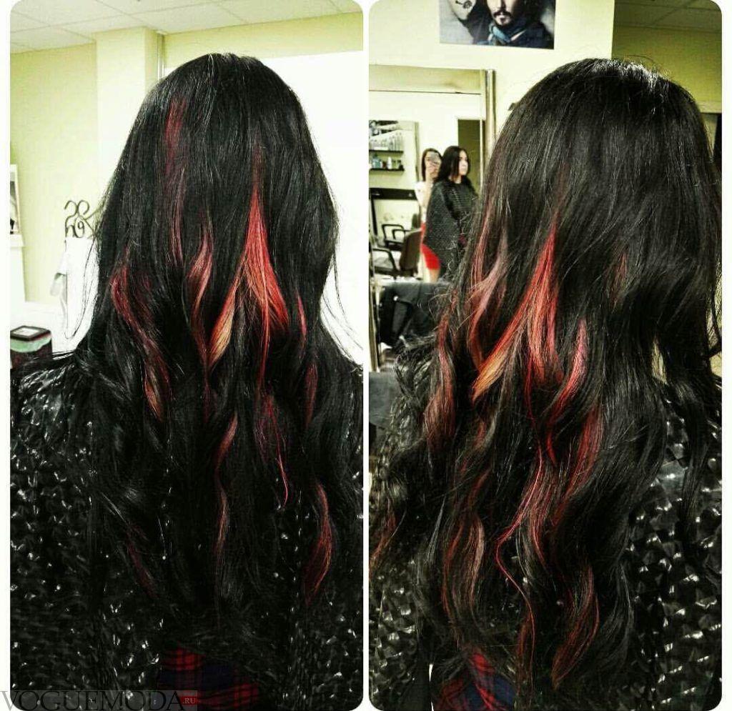 3d окрашивание на длинные волосы черное с красным