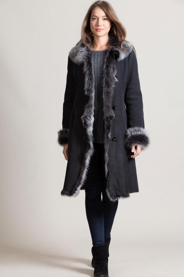 Модные дубленки 2019 2020: темная длинный воротник мех