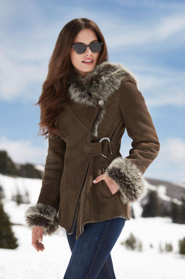 Модные дубленки 2019 2020: короткая коричневая асимметрия
