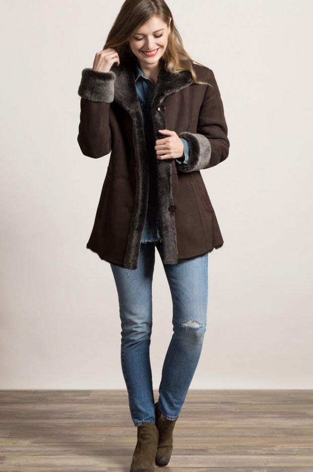 Модные дубленки 2019 2020: темно-коричневая