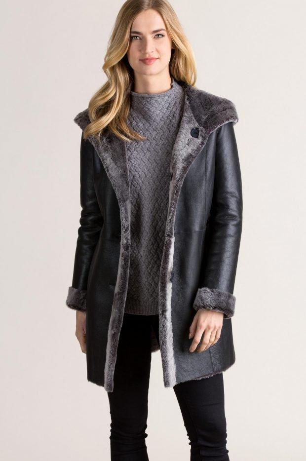 Модные дубленки 2019 2020: черная лакированная