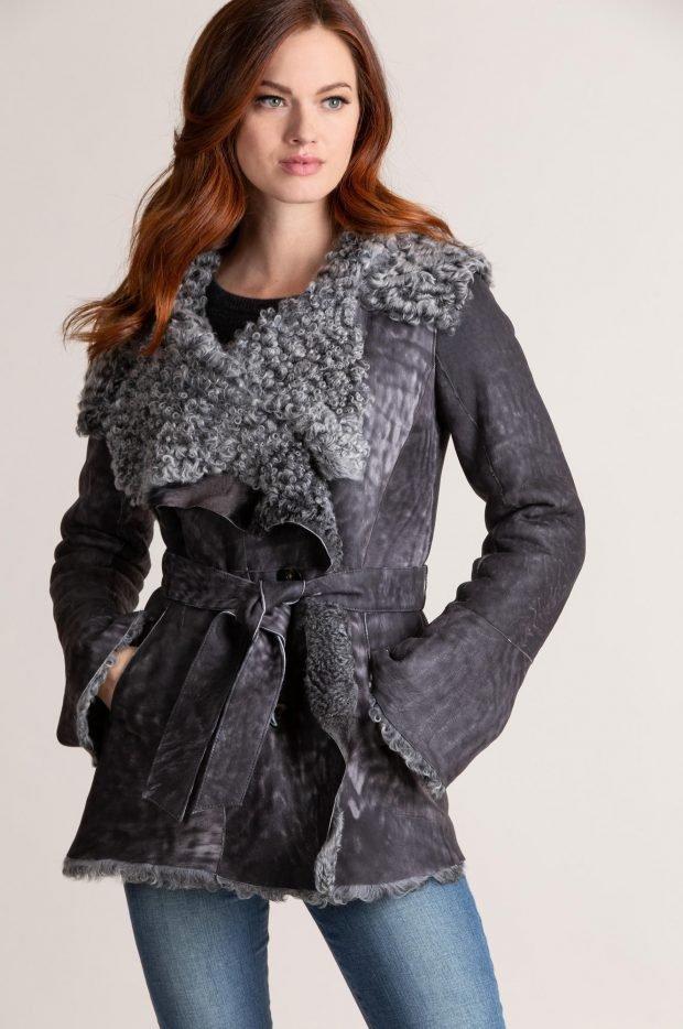 Модные дубленки 2019 2020: темно-серая с большим воротником