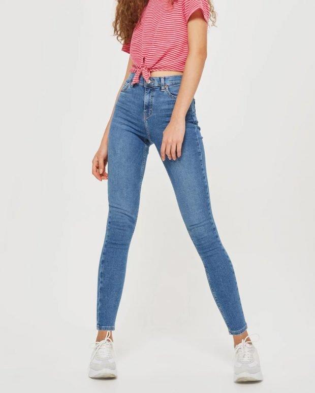 женские джинсы 2019 2020: скинни синие