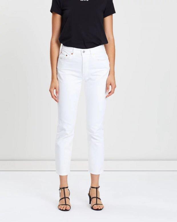 женские джинсы 2019 2020: белые укороченные