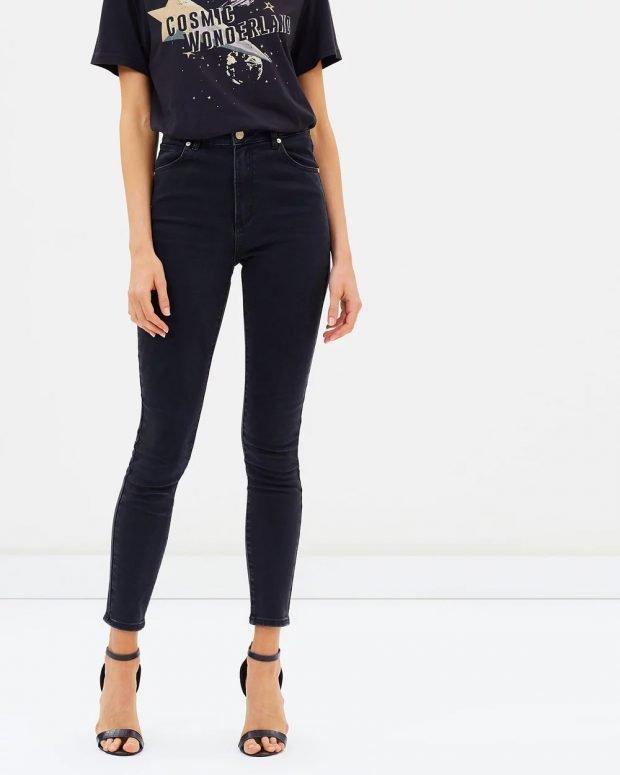 женские джинсы 2019 2020: скинни черные