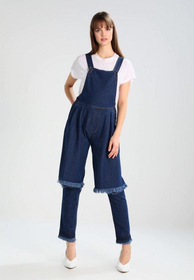 темно-синий джинсовый комбинезон