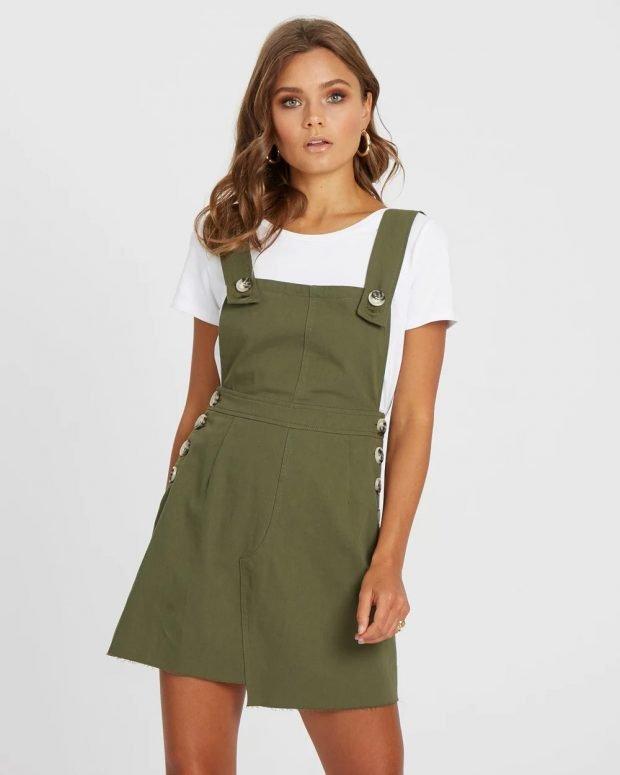 оливковый комбинезон шорты