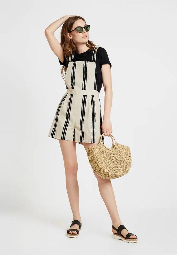 черный комбинезон шорты полосатый