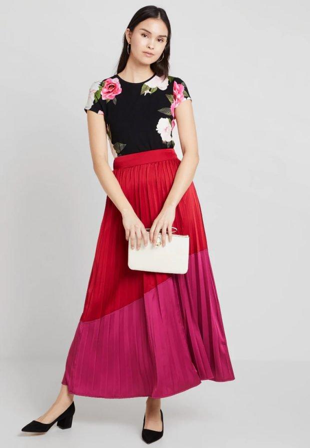 модные луки 2019 2020: розовая юбка плиссе