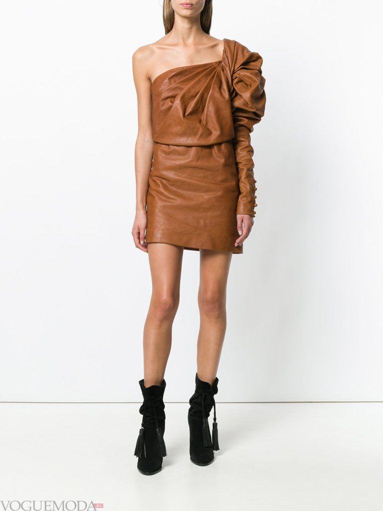 кожаное новогоднее платье