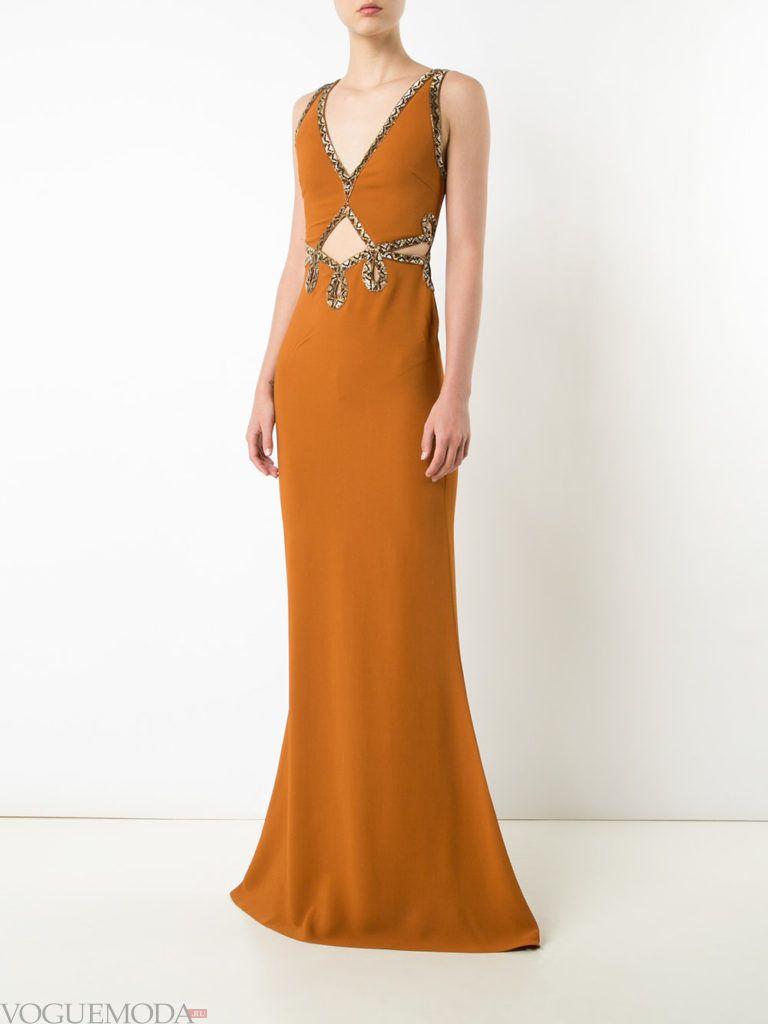 платье с декором длинное