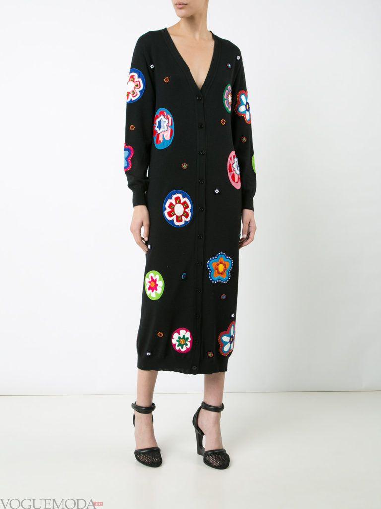 платье с декором черное