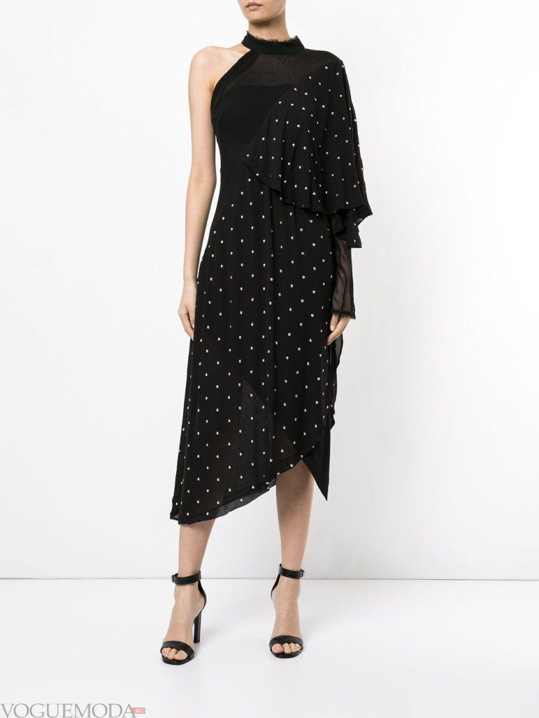новогоднее платье с одним плечом черное