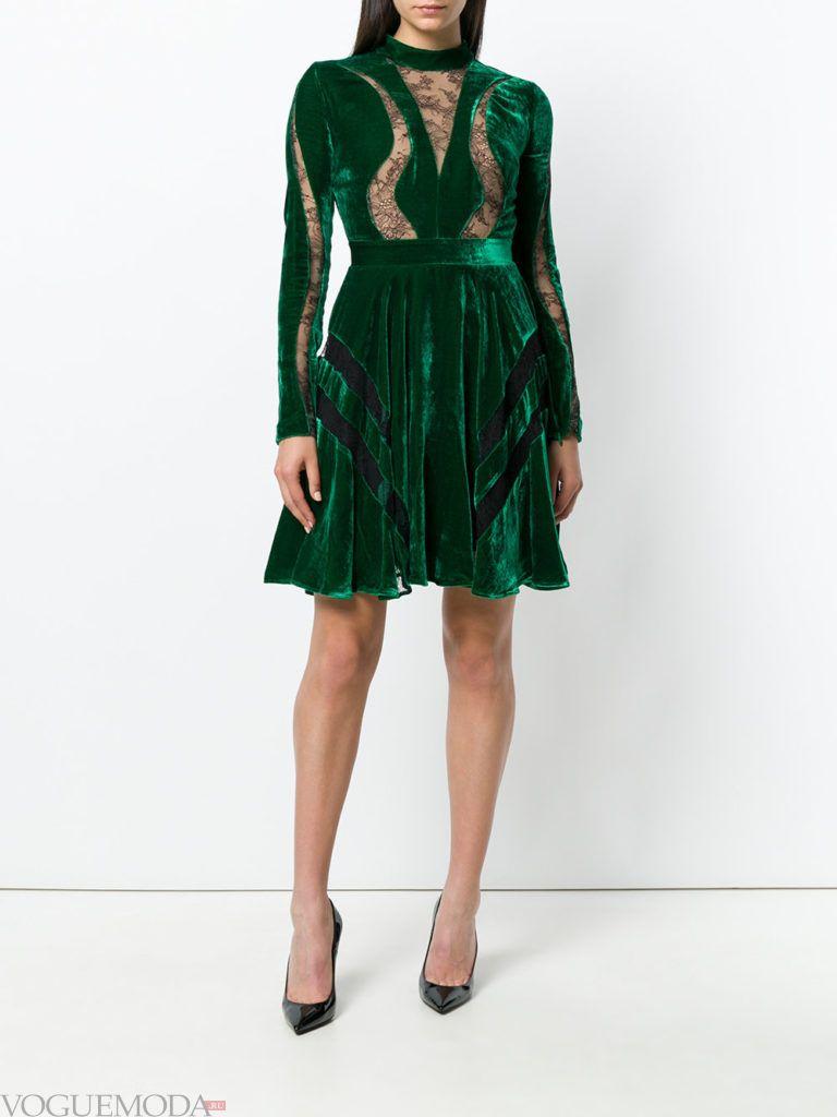 зеленое новогоднее платье