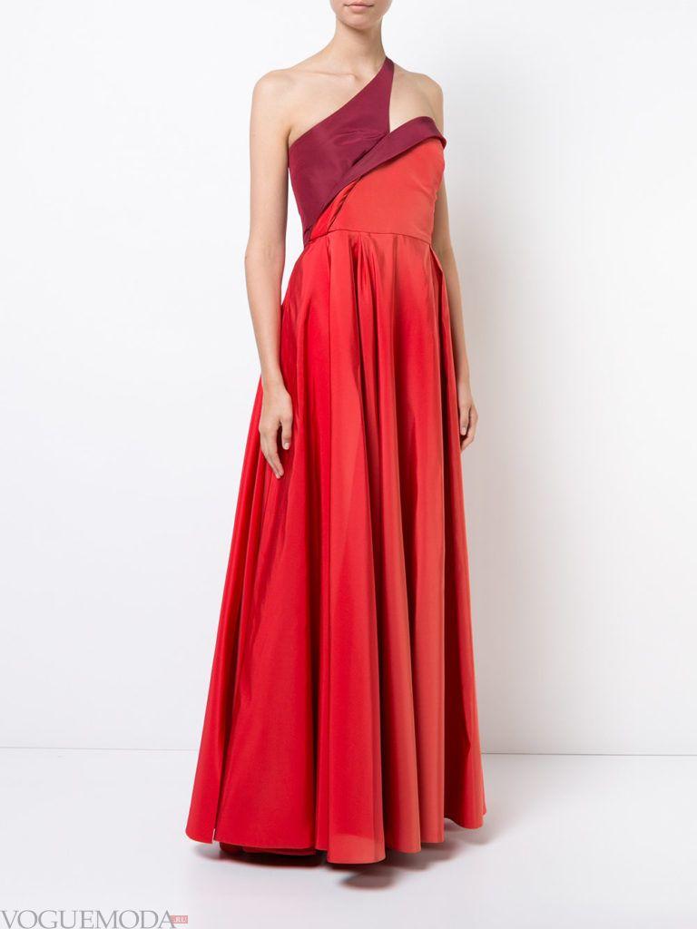 платье с одним плечом красное