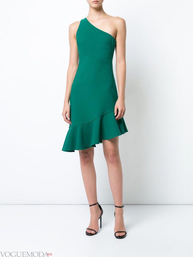 платье с одним плечом зеленое