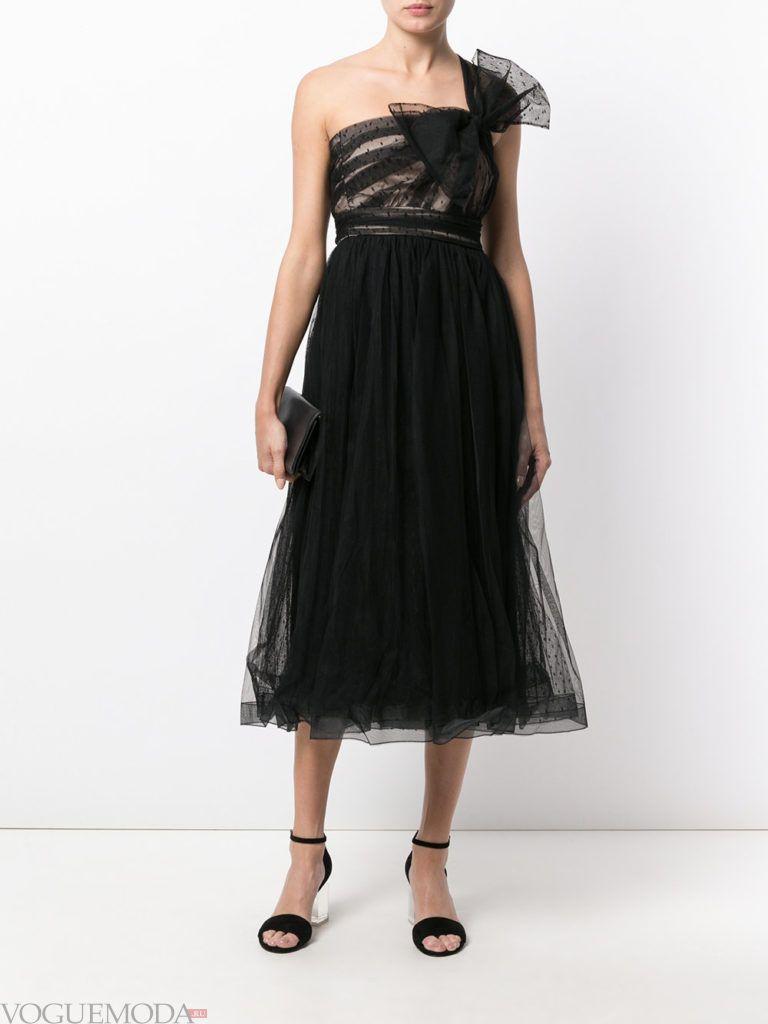 новогоднее платье с одним плечом фатиновое