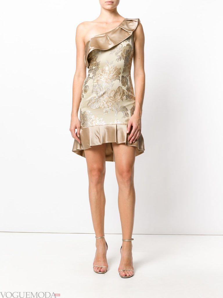 платье с одним плечом золотое