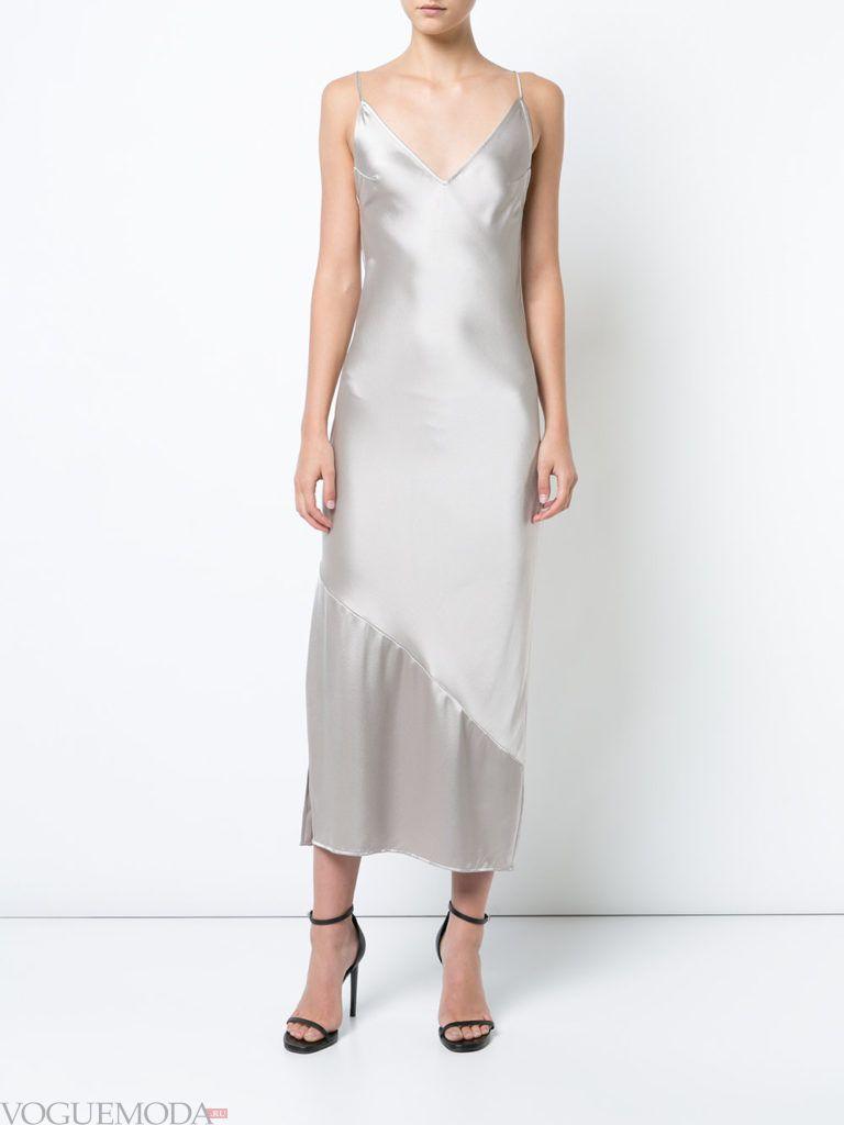 платье на тонких бретельках белое