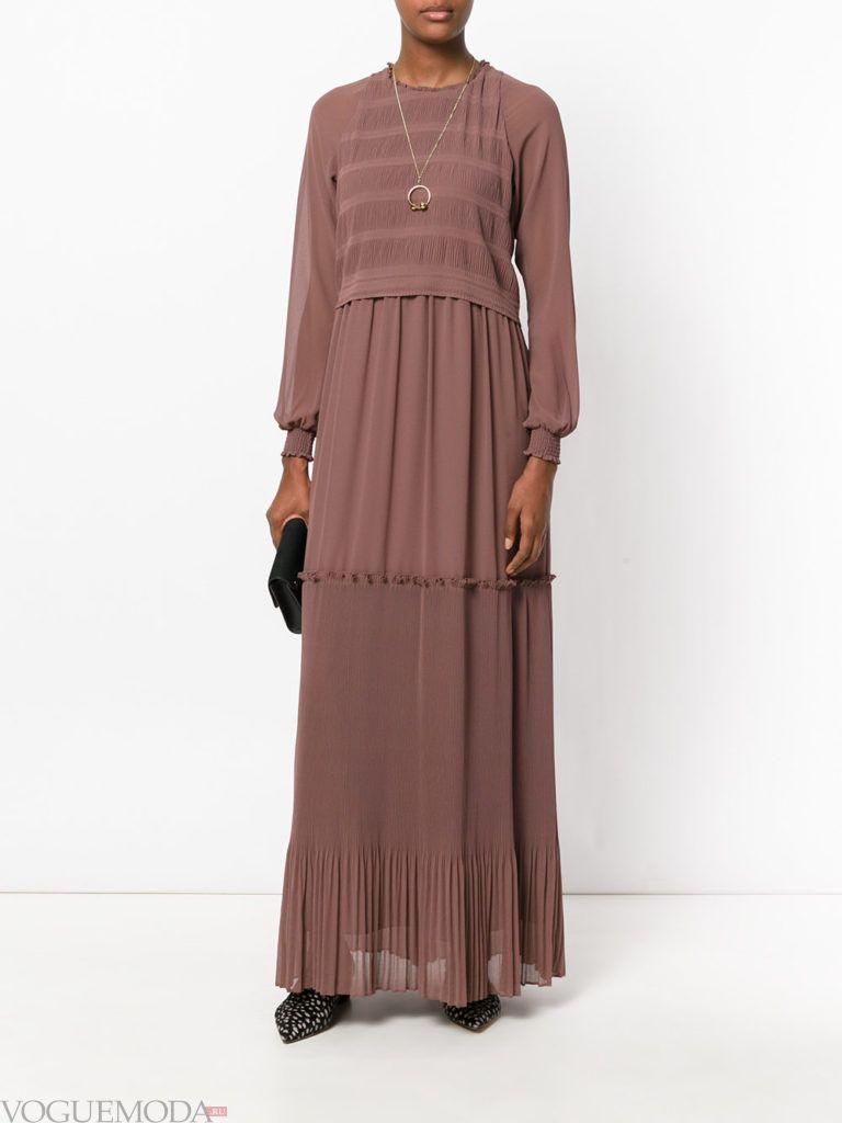 коричневое платье шифоновое