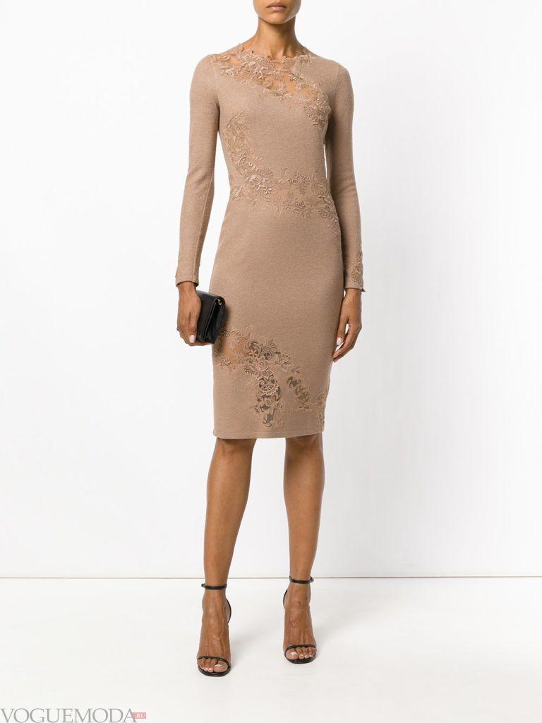 коричневое новогоднее облегающее платье