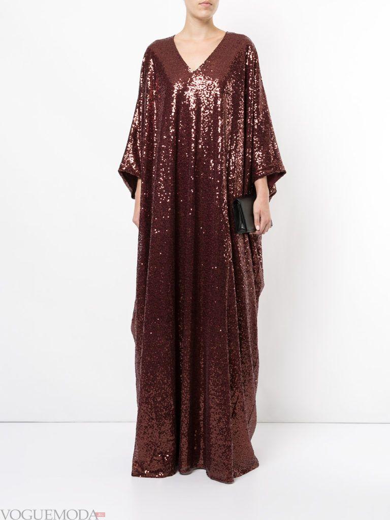 коричневое новогоднее платье длинное