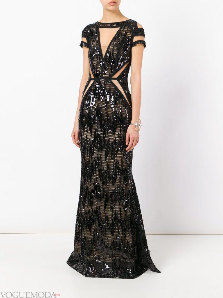платье из блестящей ткани черное