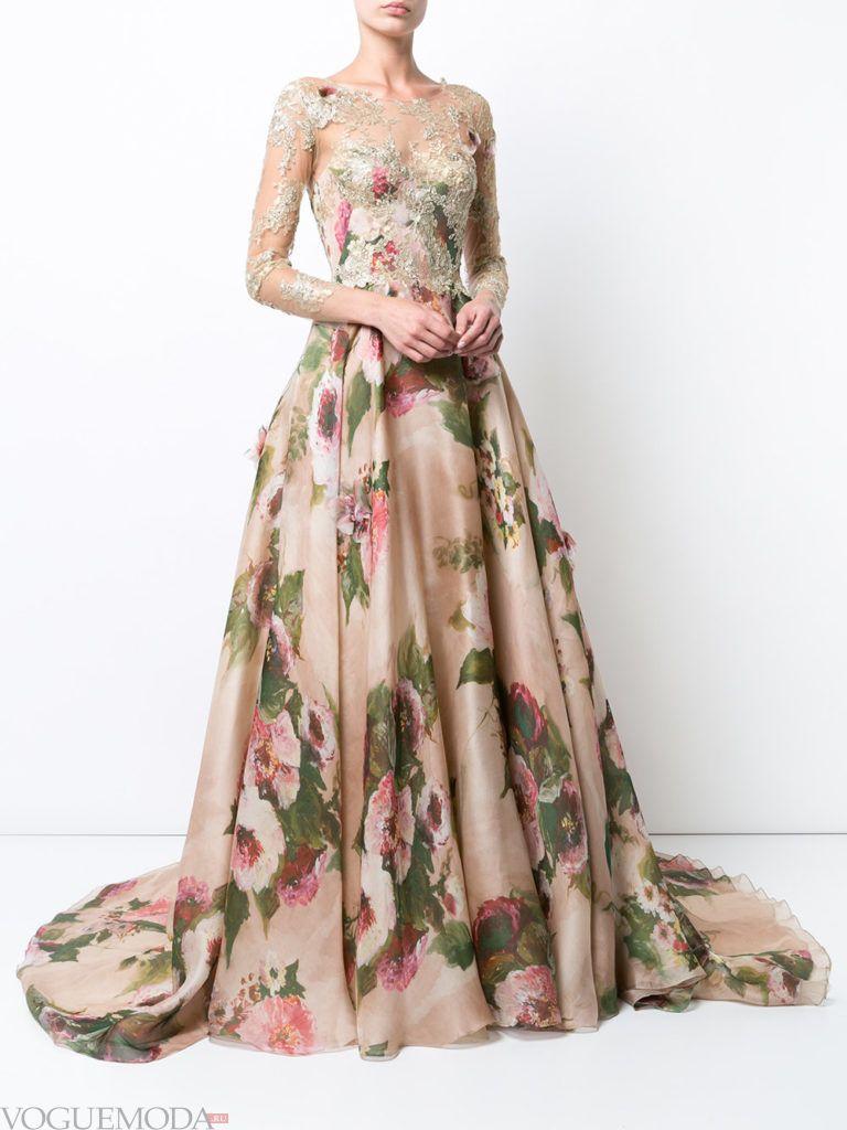 платье с принтом из струящейся ткани