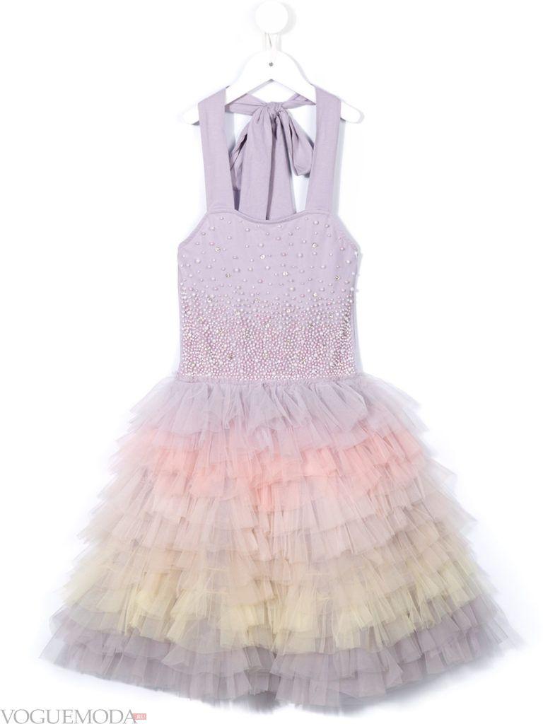 новогоднее многослойное платье для девочек