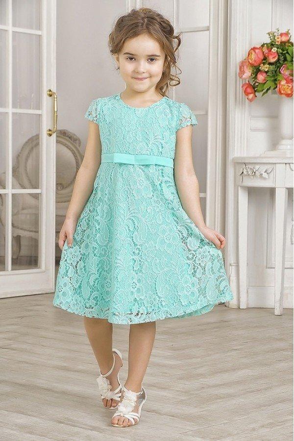 новогоднее бирюзовое платье для девочек