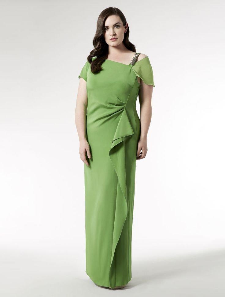 новогоднее платье для полных зеленое