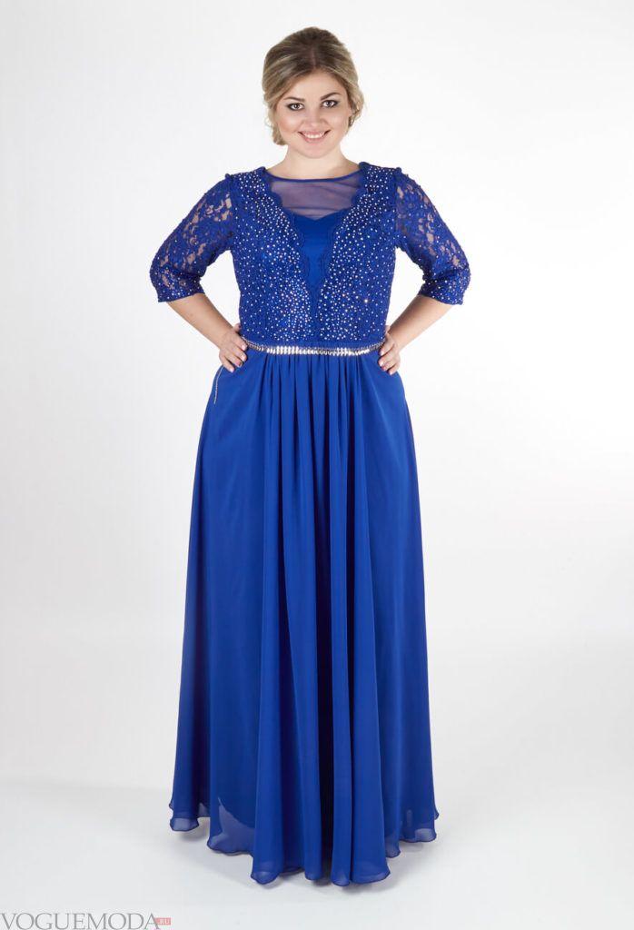 новогоднее платье для полных синее