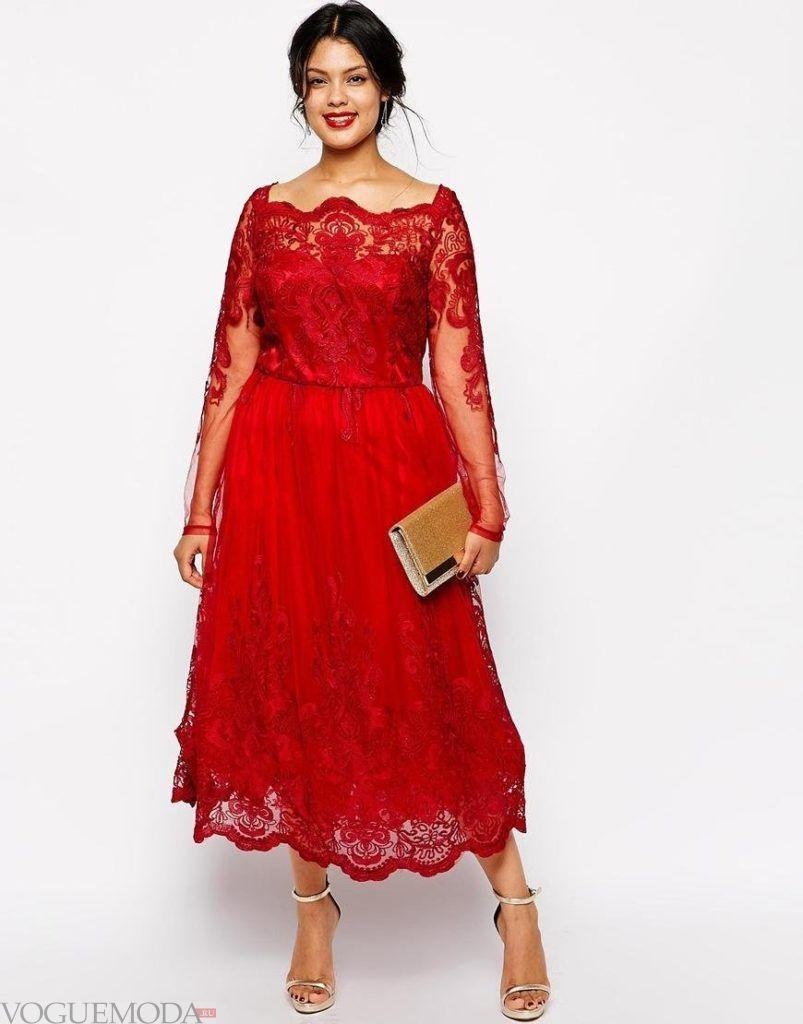 красное новогоднее платье для полных