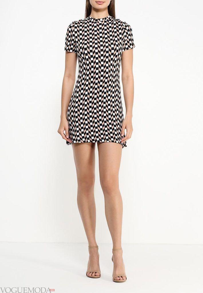 туника мини-платье с принтом