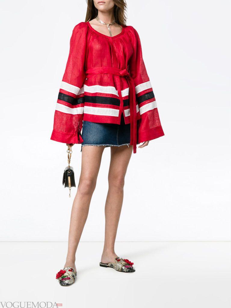 модная туника красная