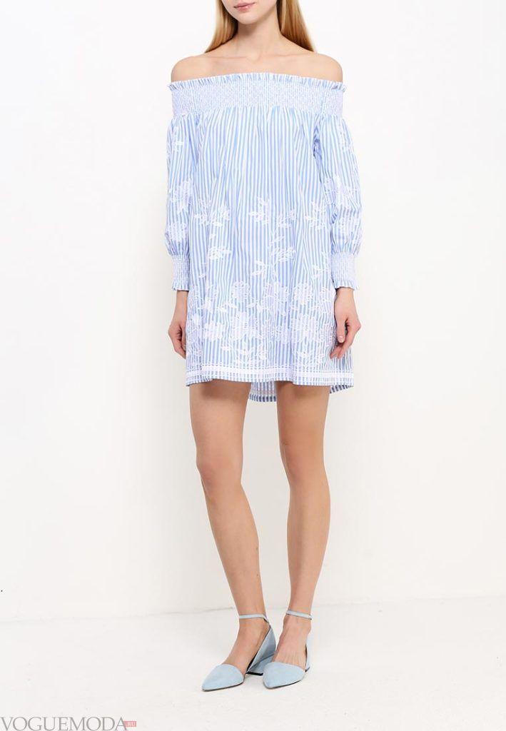 туника мини-платье голубая