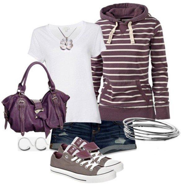модные аксессуары к фиолетовому образу