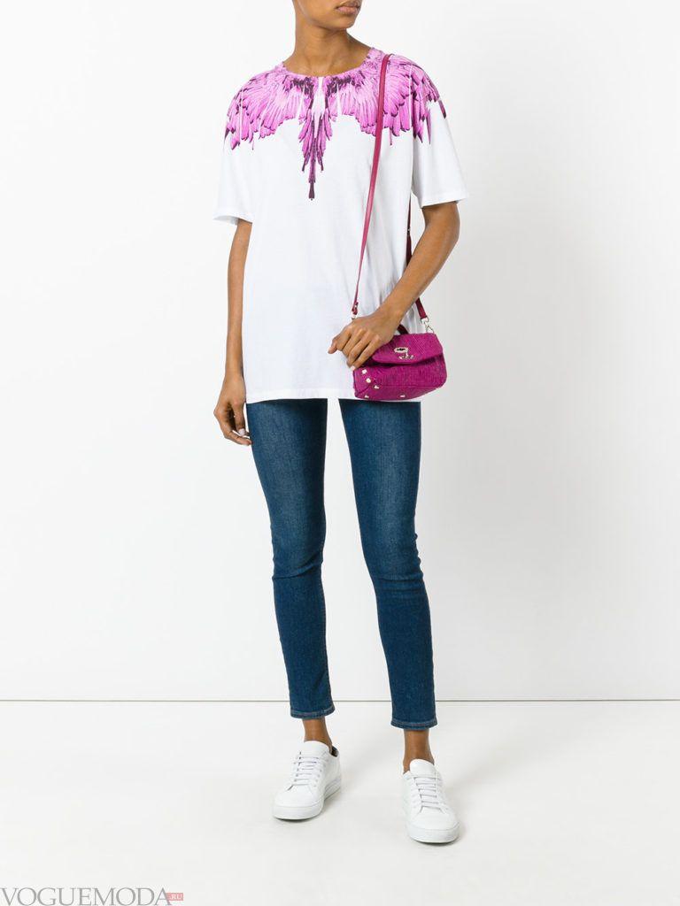 фиолетовая сумочка с джинсами