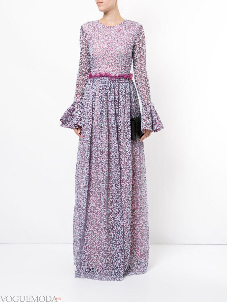 кружевное фиолетовое платье длинное